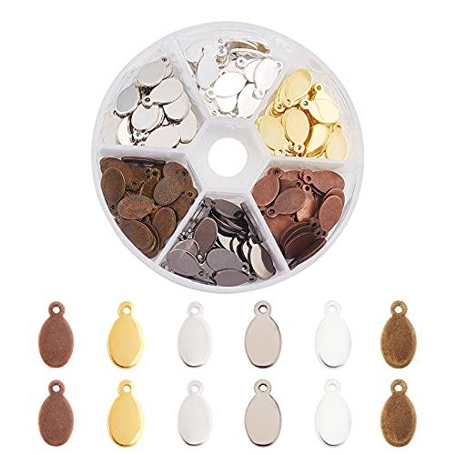 PandaHall 180 piezas de 6 colores de latón ovalados en blanco con estampado de etiquetas colgantes para pulseras, collares, joyas, manualidades, 13 x 7 x 1 mm