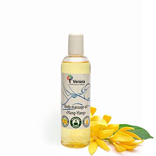 Verana Olio Per Massaggi Ylang Ylang, Naturale, Senza OGM, Per il Corpo, Massaggio Ringiovanente e Rivitalizzante, Nutre e Idrata la Pelle, Aromaterapia 250ml