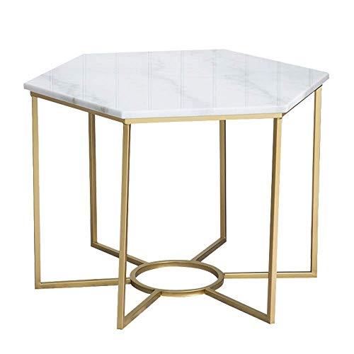 Carl Artbay Home&Selected Furniture/Marmor Couchtisch Nordic Modernes Wohnzimmer Gold-Eisen-Kunst-Sofa Beistelltisch Ecktisch Büromöbel, 23,6 ''; 19,6 '' (Farbe: Schwarz) (Color : White)