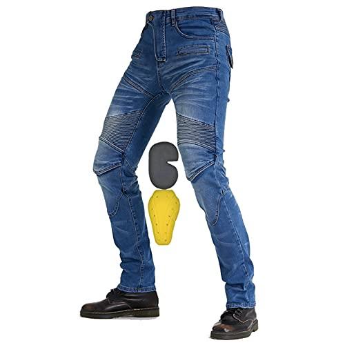 YXYECEIPENO Pantaloni da Moto Corazzati da Donna Jeans da Ciclismo da Uomo con Pieghe Elastiche, vestibilità Forte, Facile da Indossare E da Togliere Adatto per Moto, Equitazione, Sci