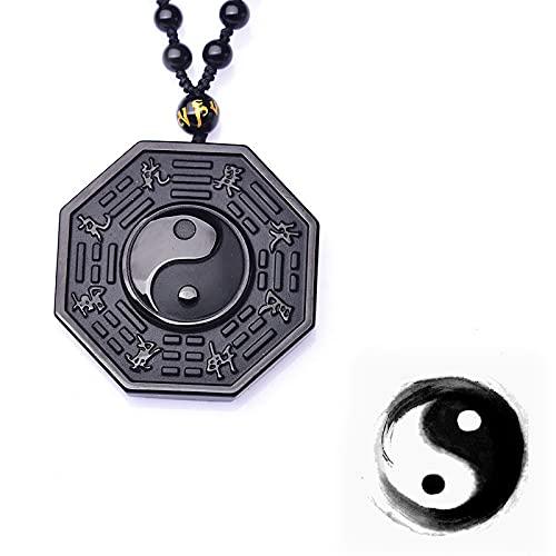 Collar con colgante de obsidiana de ocho diagramas Yin Yang para hombre
