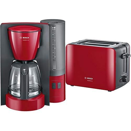 Bosch TKA6A044 Kaffeemaschine ComfortLine, Aromaschutz-Glaskanne, automatisch Endabschaltung wählbar in 20/40/60 minuten, 1200 W, rot/anthrazit & TAT6A114 Kompakt-Toaster ComfortLine