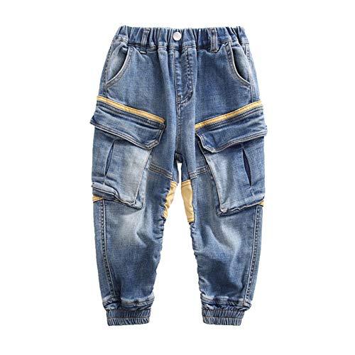 nobrand Ragazzi Jeans personalità Splice Denim Pantaloni Sportivi Ragazzi Pantaloni Streetwear Tasche per Pantaloni Casual per Bambini