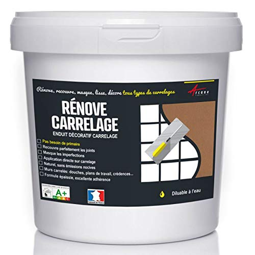 Putz für Fliesen - Fliesen verputzen - Betonbeschichtungs-Effekt - RENOVE CARRELAGE - Zimt - Kit 10kg - 6.5m² für 2 Schichten