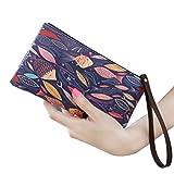 Lurrose - Cartera para mujer, estilo vintage, gran capacidad, bolso largo, bolso de viaje