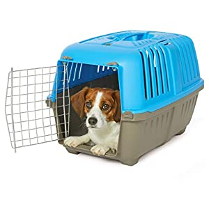 MidWest Homes for Pets Spree Travel Pet Carrier, Dog Carrier Features Easy Assembly and Not The Tedious Nut & Bolt Assembly of Competitors, Blue, 24-Inch Small Dog Breeds (1424SPB)
