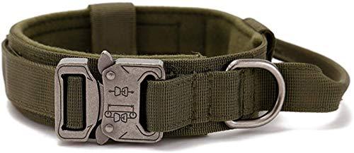 DHGTEP Collar Táctico para Perros Ancho, Collar Táctico para Perros Doblemente Cerrado con Hebilla Metálica - Collar para Perros Ajustable de Cuero Ancho (Color : Green, Size : 38-47CM)