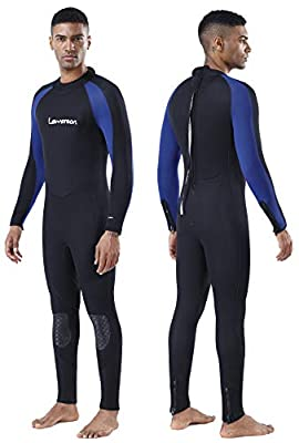 Lemorecn Mens Wetsuits Jumpsuit Neoprene 3/2mm and 5/4mm Full Body Diving Suit for Men and Women(3051blackblue-L)