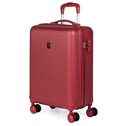 JASLEN - Maleta Cabina Avion Pequeña 4 Ruedas 55x40x20 Hombre Mujer. Viaje Rígida. Trolley Equipaje de Mano. Candado con Combinación (Cerradura aprobada por la TSA) 171050, Color Rojo