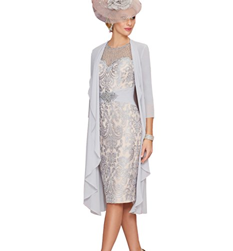 Fenghuavip Grey Mother of The Bridal Dresses with Chiffon Jacket Beading Top Size 10 (Apparel)