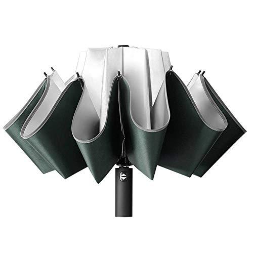 DDMYI - Paraguas creativo de vinilo automático con cierre y borde reflectante 62 x 105 cm, gris oscuro (Verde) - DDMYI-1661