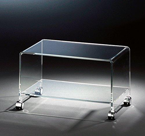 HOWE-Deko Hochwertiger Acryl-Glas TV-Wagen/TV-Tisch mit 4 verchromten Rollen, klar, 63 x 38 cm, H 38 cm, Acryl-Glas-Stärke 10/12 mm