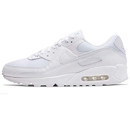 Nike Air MAX 90, Zapatillas para Correr Hombre, Blanco (White/White/White/Wolf Grey), 40.5 EU