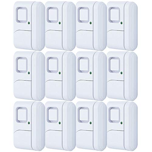GE 45989 Personal Security Window/Door Off/Chime/Alarm, Easy Installation, Ideal for Home, Garage, Apartment, Dorm, RV and Office, 12-Pack, White, 12