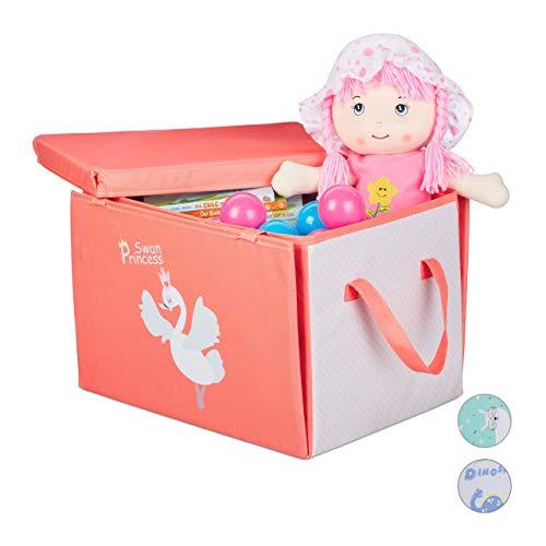 Relaxdays Aufbewahrungsbox Kinder, Schwan Prinzessin, faltbar, Deckel & Griff, Spielzeugkiste HxBxT: 29 x 41 x 31cm, rot