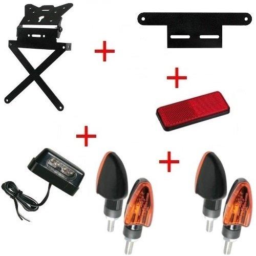 Kit pour moto support de plaque d'immatriculation + 4 Flèches + lumière plaque d'immatriculation + réflecteur + Support Lampa universel Suzuki RV 125 Van Van 2003 – 2017