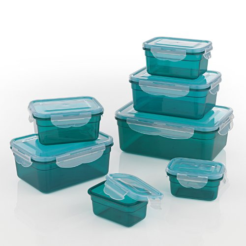GOURMETmaxx Set di 7 contenitori per alimenti senza BPA e con coperchio incluso | Chiusura a scatto a 4 pieghe e guarnizione in silicone | Perfetta conservazione dell'aroma degli alimenti