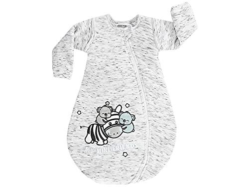 Jacky Baby Jungen Mädchen Ganzjahres-Schlafsack abnehmbare Ärmel, Größe:80, Farbe:hellgrau Melange