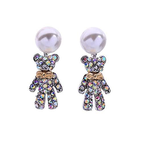 Pendientes de gota de osito bonito de cristal colorido exquisito para mujer, accesorios de joyería de moda con tachuelas acrílicas