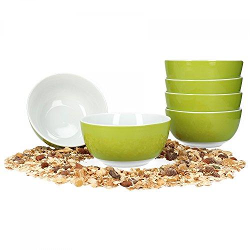 Van Well 6er Set Müsli- Salatschale Serie Vario Porzellan - Farbe wählbar, Farbe:grün