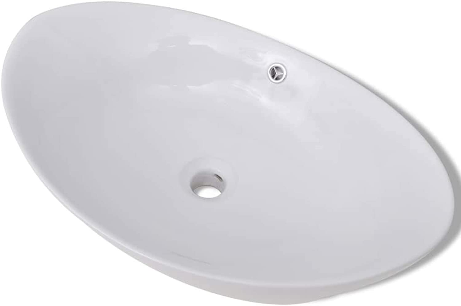 Daonanba Oval Wash Basin Practical Vessel for Bathroom, Washroom, Powder Room Ceramic White
