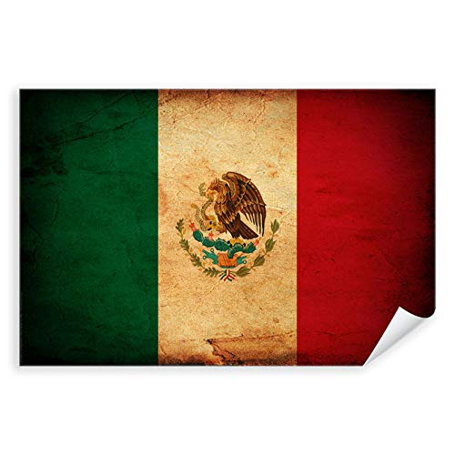 Postereck - 0298 - Vintage Flagge, Fahne Mexiko Mexiko-Stadt - Unterricht Klassenzimmer Schule Wandposter Fotoposter Bilder Wandbild Wandbilder - Leinwand - 100,0 cm x 75,0 cm
