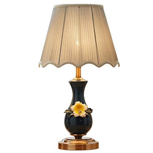 Tafellamp Oosterse keramische tafellamp bedlampje slaapkamerlamp woonkamer kantoor werkkamer retro stijl stoffen kap donkergroen bureaulampen