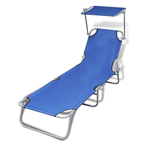 vidaXL Chaise Longue Pliable avec Auvent Acier et Tissu Transat de Jardin