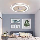 Ventilatore a Soffitto con Lampada Ventilatore da soffitto a LED Ultra-Silenzioso Moderno creatività Ventilatore per soffitto con Telecomando Adatto per camera da letto, soggiorno, ufficio,Bianca