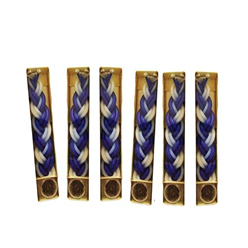 6 Havdalah Sets Braided Blue White Candles a Small Container Besomim