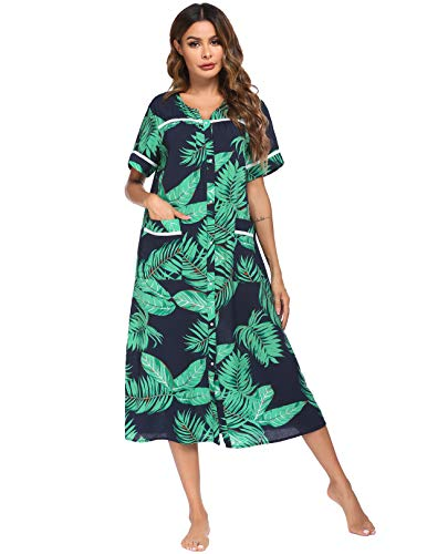 Ekouaer Women's Short Sleeve Lounge Robe Snap Front Long Housecoat (Pattern3,XXL)