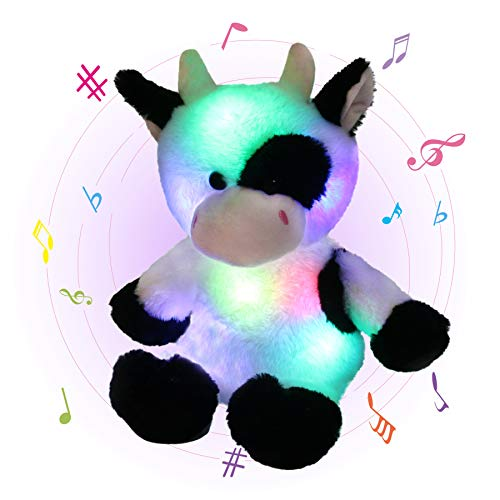 Glow Guards 15'' Light up Musical Stuffed Dairy Cow Soft Plush Toy with LED Night Lights Lullabies Adorable Glow Singing Farm Animal Birthday for Toddler Kids