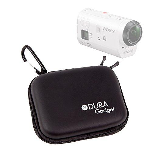 DURAGADGET Etui Housse Rigide Noir avec Attache pour caméra embarquée Sony AZ1VR Action Cam Mini with Wi-FI