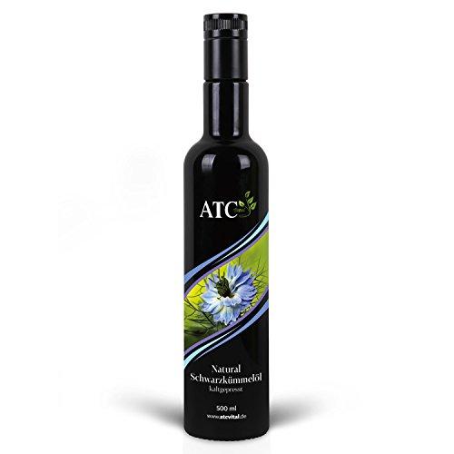ATC Vital Schwarzkümmelöl 500 ml - Kaltgepresstes Öl Aus Echter Nigella Sativa Saat – Milder Geschmack - Naturrein - Ohne Zusatzstoffe – Nur Echt Im Violettglas