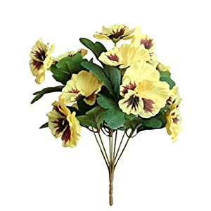 Silk Flower Arrangements Narutosak-1Pc Artificial Flower Pansy, Home Office Garden DIY Stage Party Home Wedding Craft Decoration, Window Table Ornament - Yellow
