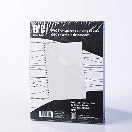 BNC 7 Mil 8-1/2 x 11 Inches, Letter Size PVC Binding Covers - Pack of 100, Clear