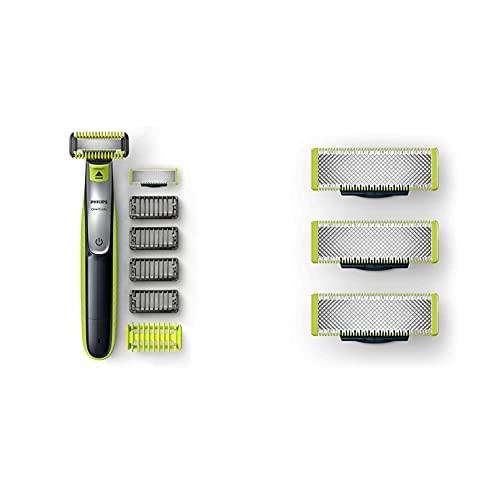 Philips Oneblade Cara + Cuerpo Qp2630/30 Recortador De Barba Recargable Con Peine-Guía Para El Cuerpo + Qp230/50 Cuchilla De Recambio Para Oneblade, 3 Cuchillas