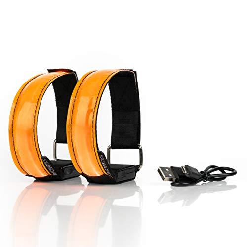 ACTINETICS Aufladbares LED Armband, Leuchtband für Joggen, Laufen – Sicherheitslicht, Reflektor und Blinklicht für Kinder – Blinkende und statische LED-Funktionen, USB aufladbar (4 Stück) (orange)
