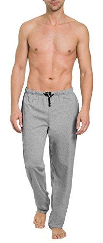 HAASIS BODYWEAR, Herren Pyjamahose lang mit Seitentaschen, Single Jersey, Reine Baumwolle, Gummibund mit Kordel, Größe:M, Farbe:Graumeliert