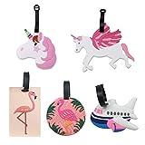 Etichette per Valigie Unicorno Flamingo e aeroplano per valigie, simpatiche etichette identificative per viaggi in PVC con cinturino regolabile per zaini e borse natalizie (5 pezzi)