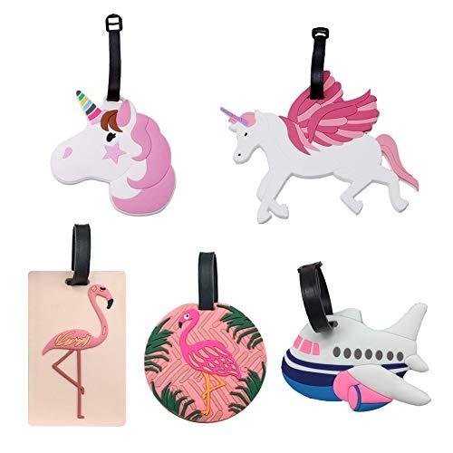 Etiqueta Equipaje Unicornio Flamingo y Airplane Kids, Lindas Etiquetas de identificación de Viaje de PVC con Correa Ajustable para Mochilas y Bolsas para Las Fiestas (5 Piezas)