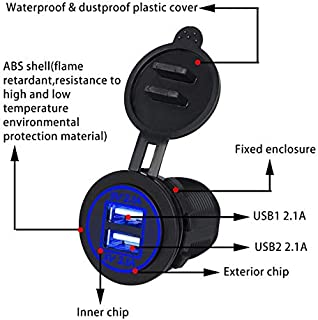 5V 4.2A Dual USB Charger Socket Adapter Outlet for 12V 24V Motorcycle Car High Safety Coefficient with LED Indicator-Blue