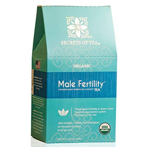 Secrets Of Tea Male Fertility Tea for Men - Natural USDA Organic Caffeine-Free Herbal Tea Supplement for Fertility Boost - Ashwagandha, Ginko and Horny Goat Weed Tea (40 Servings)