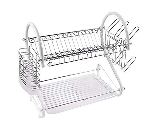 Keraiz Chrome Silver 2 Tier S Shaped Dish Drainer Dish Rack   Utensils Holder/Rack   Steel Countertop Dish dryer Set