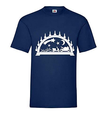 Shirt84.de Evolution - Camiseta para hombre, diseño de evolución de un caballo en moto azul marino S