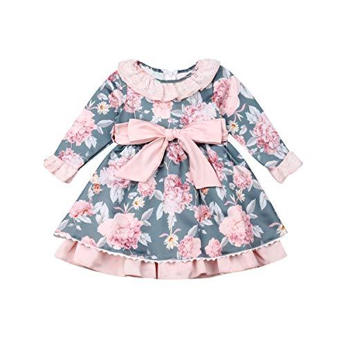 Vestido de Bautizo para Bebé Niñas Pequeñas Vestidos Florales de Manga Larga...