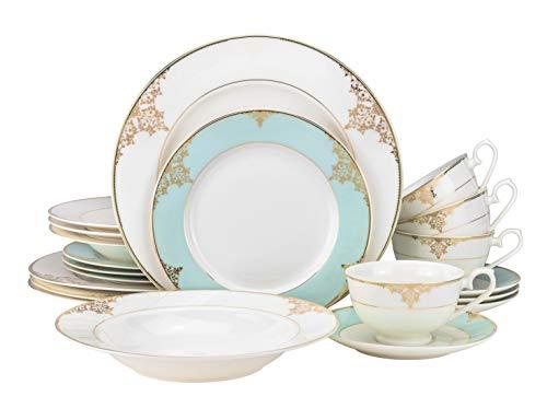 "EURO Porcelain 20-pc. Dinner Set Service for 4, 24K Gold-plated Luxury Bone China Tableware (""Aegean Sea"" 6414-20)"