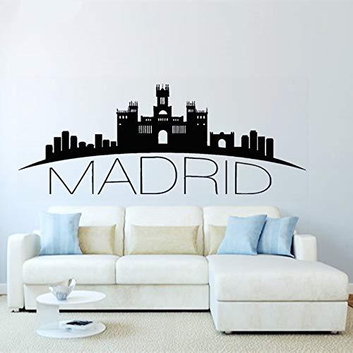 Pegatinas De Vinilo Sala De Estar, Dormitorio, Cocina España Madrid Skyline Wall Decal Ciudad Silueta Arte De La Pared Murales Para La Decoracion Del Hogar 36x93cm