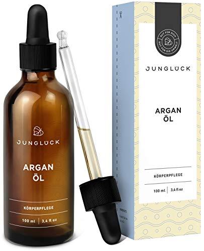 Junglück Arganöl 100% rein & vegan | 100 ml in Braunglas | Feuchtigkeitspflege & Anti-Aging für Gesicht & Haut durch reines Öl aus Argan Kernen | Natürliche & nachhaltige Kosmetik made in Germany