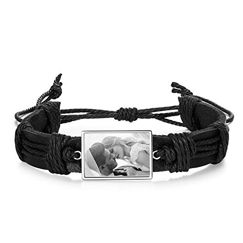 Personalized Bracelet with Photo Engraving Braided Leather Bracelet for Men Customized Bracelet Photo Jewelry for Women Gift for Birthday Father's Day Mother's Day Christmas (black & silver)
